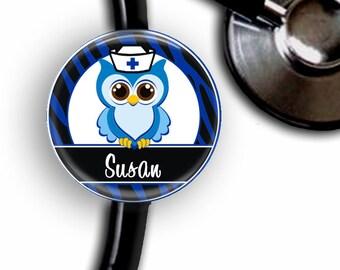Blue Owl Nurse Personalized Stethoscope ID Tag