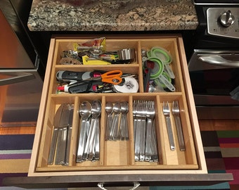 Custom Wood Utensil Tray Drawer Organizer
