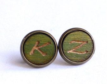 Tiny Stud Earrings, Wood Earrings, Moss Green Earrings, Initial Earrings