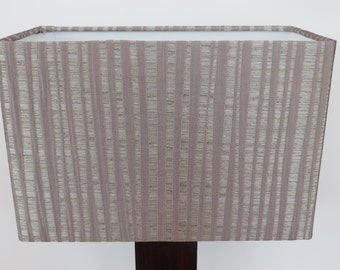 Handmade Silver Grey Rectangular Lampshade in 'Pisa' -  with textured lavender stripe fabric