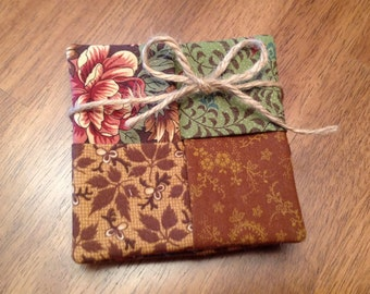 Fabric Coasters – Set of 4 - Handmade - 001013