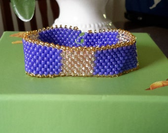 Purple and gold seed bead peyote bracelet