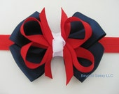 Baby Girl July 4th Patriotic Two Tone Knotted Hair Bow Headband or Clip