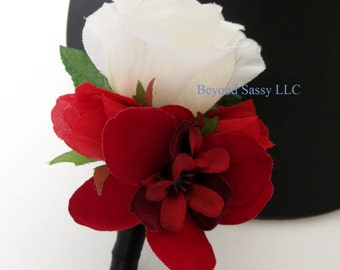 Black Red White Wedding Prom Groomsmen Rose Flower Boutonniere