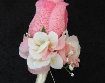Cream Pink Wedding Groom Rose Flower Boutonniere You Pick Ribbon