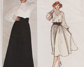 Vintage 1970s Vogue 1314 American Designer Bill Blass High Neck Lace Collar Evening Gown Sewing Pattern Size 8