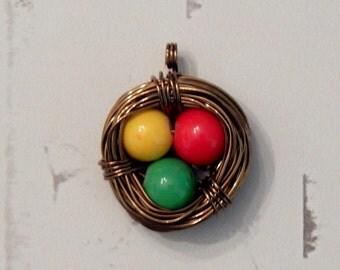 Three Little Birds Nest Pendant