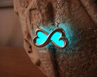 Glowing Pendant - Aqua Bow - GLOW in the DARK - Glowing Necklace - Glow in the Dark Pendant - Glowing Jewelry - Glow Necklace - Glow Jewelry