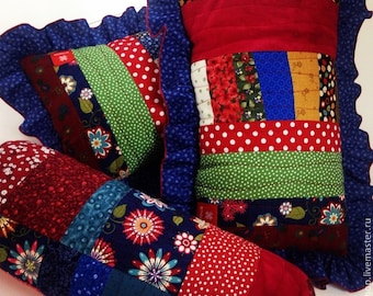 Set of Handmade Patchwork Quilt Pillows with a frill,Cussion,Dark blue,Red,Green,Multicolor