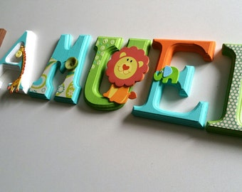 Wooden letters / wooden letters Wood letters / baby shower gift.  Wall letters. Nursery decoration.  Jungle theme. Hanging wood letters.