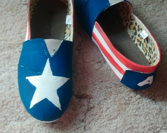 Hand painted Captain America TOMS slip on sandals