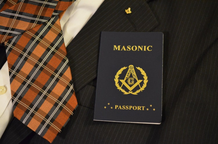 Masonic Passport In Blue Leather Cover With Gold By