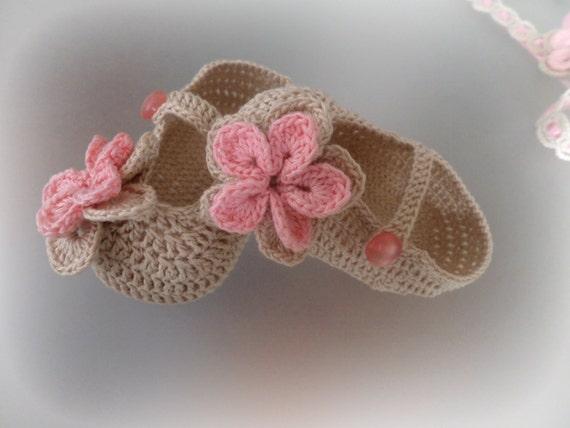 crochet sucr s chaussures pour b b fille crochet coton b b. Black Bedroom Furniture Sets. Home Design Ideas