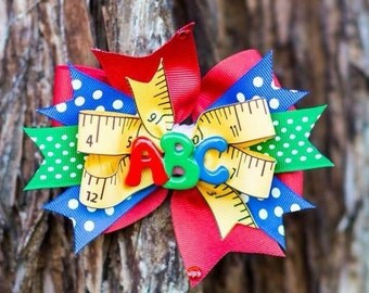 Back to school hairbow - first day of school - back to school bow - school bow - abc bow - kinder bow - kindergarten - preschool bow -