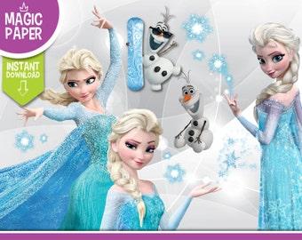 Frozen Clipart - Digital 300 DPI PNG Images, Photos, Scrapbook, Digital, Cliparts - Instant Download