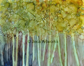Trees Original 8 x 10 Original Alcohol Ink Painting with Mat