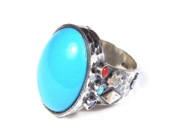 Huge Genuine Sleeping Beauty Turquoise 925 Sterling Silver Ring size 7.5 or 8
