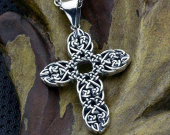 Sterling Silver Woven Rope Christian Cross Necklace Pendant