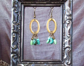 Boho Turquoise and Brass Circle - earrings