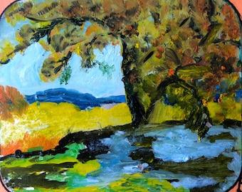 "Tree Of Life, 4.5"" x 5.5"" , Original Fine Art Oil Painting"
