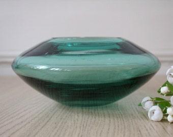 Glass ashtray / vase - glass - green glass - mid century