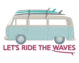 Combi Van and surf machine embroidery design