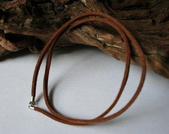 Suede Leather Cord - Brown - Dark Brown - Black - with Sterling Silver Clasp