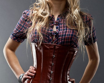 Real sheep leather waist steel-boned authentic corset, different colors. Corset for tight lacing and waist training, steampunk, gothic