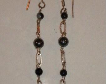 silver earings with gemstones-hematite-black pearls