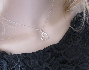 Silver necklace, silver heart necklace, sterling silver necklace, pendant necklace, delicate necklace, minimalist jewelry, gift for her