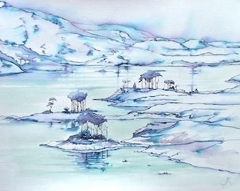 Loch Assynt Winter  | greetings card | hand made | handmade | painting | landscape | scotland | scottish | loch | lake | trees | watercolour