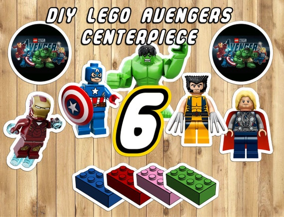 DIY Lego Avengers Centerpiece - 12 Characters 4 Lego Blocks All Numbers and Logo Download Print Lego Avengers Decoration Avengers Birthday