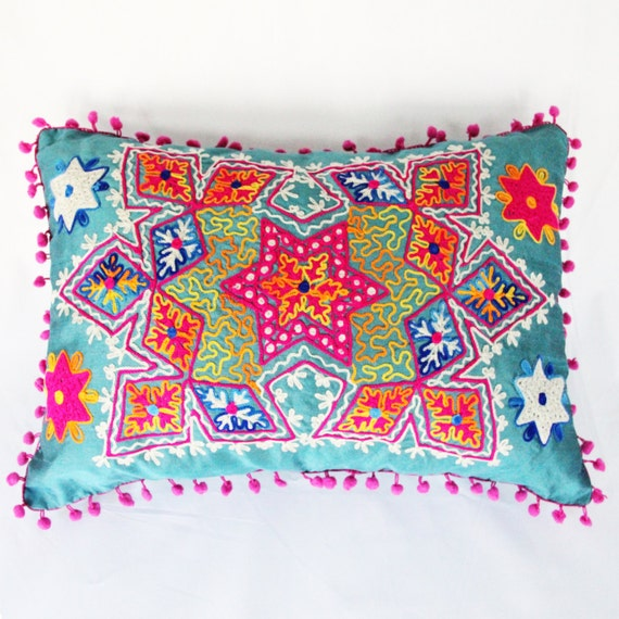 Decorative Floral Pillow Case Cover Cushion Throw (Shiny Blue) (50x35cm)