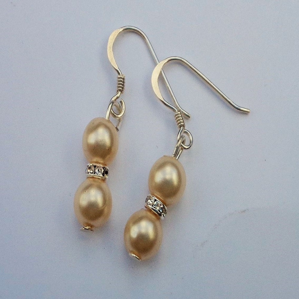 pearl earrings with diamante spacers and silver sted