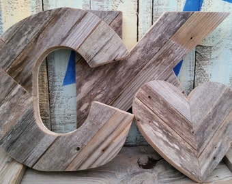 Rustic Wood Letters and Heart Set