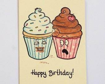 Happy Birthday Card -  Cupcakes - Funny Card