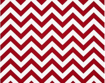 1 Yard Red and White Chevron Fabric - Premier Prints Lipstick Red and White Zig Zag Chevron Fabric ONE YARD