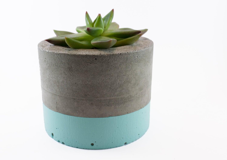 Mint paint dipped concrete planter pot by foxholenz on etsy for Painting concrete pots