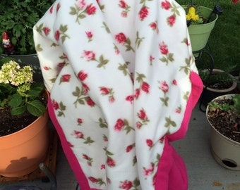 Pink Floral 3 layer quilted fleece blanket