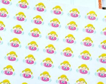 Swim Girl Stickers