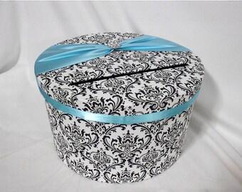 Black and White Madison Damask with Aqua Blue Wedding Money Gift Card Holder Box