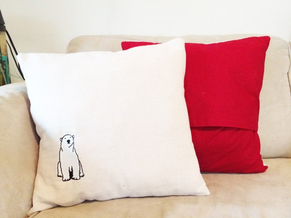 Polar Bear Throw Pillow : Polar Bear Embroidered Throw Pillow by PinchPunch on Etsy