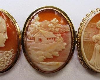 14k Antique Vintage Cameo Brooch Pin