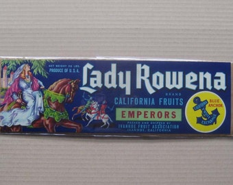 2 Labels 1950s Vintage Paper Fruit Crate Label Lady Rowena California #6