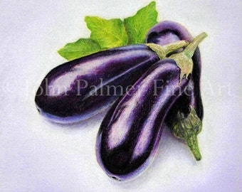 Aubergine / Eggplant -  Greeting card from my painting of an Aubergine