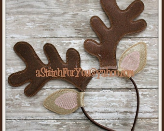 REINDEER Ears & ANLeRs ~ (4 Piece) Character Inspired Headband ~ In the Hoop ~ Downloadable DiGiTaL Machine Emb Design by Carrie