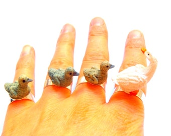 THE HAPPY DUCKLINGS --  Multiple Ring with miniature ducks by The Sausage