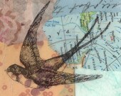 Swallow collage with vintage map, found and handmade papers and transfer of drawing of a swallow