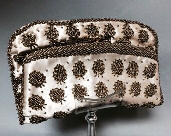 HANDMADE Vintage 1950's 1960's Gold BEADED Satin Clutch Bag WEDDING Purse Looks like Bugs!