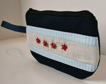 Chicago Flag Wristlet, Chicago Pride, Navy Fabric Wristlet, Iphone Wristlet